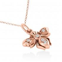 Diamond Bee Pendant Necklace 14k Rose Gold (0.10ct)