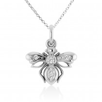 Diamond Bee Pendant Necklace 14k White Gold (0.10ct)