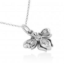 Diamond Bee Pendant Necklace 14k White Gold (0.10ct)