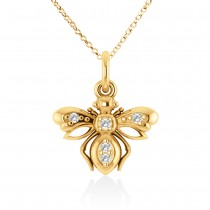 Diamond Bee Pendant 14k Yellow Gold (0.10ct)