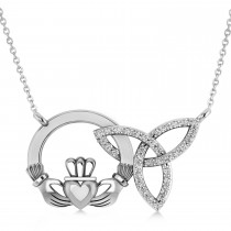 Diamond Claddagh & Trinity Pendant Necklace 14k White Gold (0.18ct)