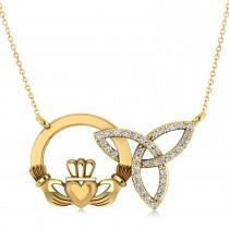 Diamond Claddagh & Trinity Pendant Necklace 14k Yellow Gold (0.18ct)