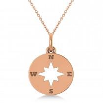 Navigational Compass Pendant Necklace 14k Rose Gold