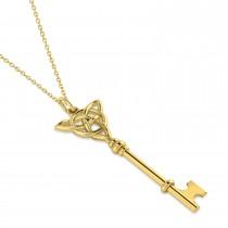 Celtic Knot Key Pendant Necklace 14k Yellow Gold