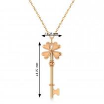 Four Leaf Clover Key Pendant Necklace 14k Rose Gold