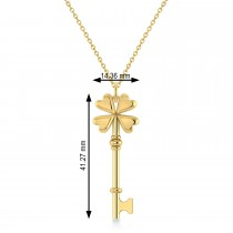 Four Leaf Clover Key Pendant Necklace 14k Yellow Gold
