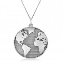 Earth's Cosmopolitan View Pendant Necklace 14k White Gold