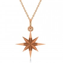 Shinning Bright North Star Pendant Necklace 14k Rose Gold