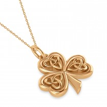 Celtic Knot Three-Leaf Clover Pendant Necklace 14k Rose Gold