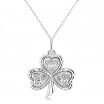 Celtic Knot Three-Leaf Clover Pendant Necklace 14k White Gold