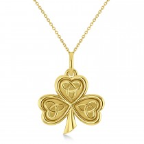 Celtic Knot Three-Leaf Clover Pendant Necklace 14k Yellow Gold