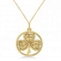 Enclosed Celtic Knot Three-Leaf Clover Pendant 14k Yellow Gold