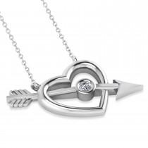 Cupid's Heart & Arrow Diamond Pendant 14k White Gold (0.07ct)