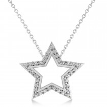 Galaxy Star Diamond Accented Pendant 14k White Gold (0.35ct)