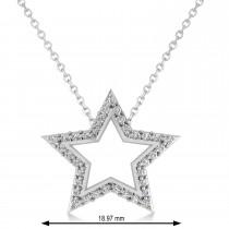 Galaxy Star Diamond Accented Pendant 14k White Gold (0.35ct)