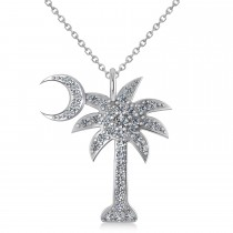 Palmetto & Crescent Moon Pendant Necklace 14k White Gold (0.81ct)