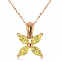 Yellow Diamond Marquise Flower Pendant Necklace 14k Rose Gold (1.00 ctw)