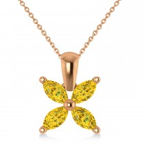 Yellow Sapphire Marquise Flower Pendant Necklace 14k Rose Gold