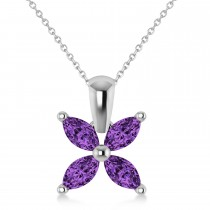 Amethyst Marquise Flower Pendant Necklace 14k White Gold (0.80 ctw)
