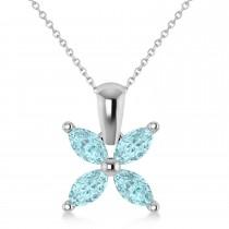 Aquamarine Marquise Flower Pendant Necklace 14k White Gold (0.80 ctw)