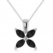 Black Diamond Marquise Flower Pendant Necklace 14k White Gold (1.44 ctw)