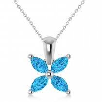 Blue Topaz Marquise Flower Pendant Necklace 14k White Gold (1.20 ctw)