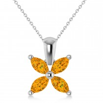 Citrine Marquise Flower Pendant Necklace 14k White Gold (0.80 ctw)