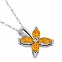 Citrine Marquise Flower Pendant Necklace 14k White Gold (0.80 ctw)