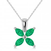 Emerald Marquise Flower Pendant Necklace 14k White Gold (1.20 ctw)