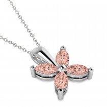 Morganite Marquise Flower Pendant Necklace 14k White Gold (1.20 ctw)