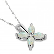 Opal Marquise Flower Pendant Necklace 14k White Gold (0.68 ctw)