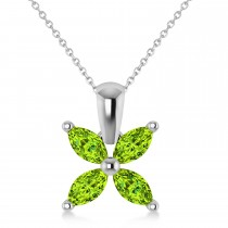 Peridot Marquise Flower Pendant Necklace 14k White Gold (1.00 ctw)