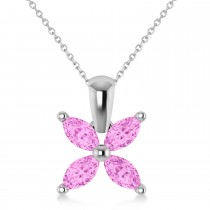 Pink Sapphire Marquise Flower Pendant Necklace 14k White Gold (1.40 ctw)