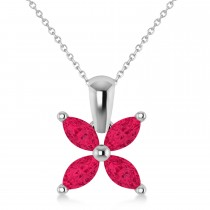 Ruby Marquise Flower Pendant Necklace 14k White Gold (1.40 ctw)