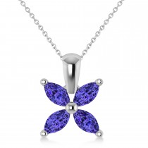 Tanzanite Marquise Flower Pendant Necklace 14k White Gold (0.60 ctw)