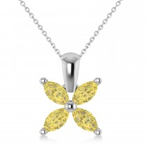Yellow Diamond Marquise Flower Pendant Necklace 14k White Gold