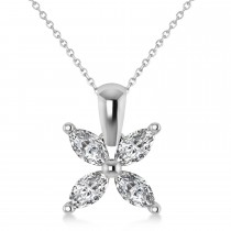 Diamond Marquise Flower Pendant Necklace 14k White Gold (1.00 ctw)