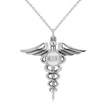 Emergency Medical Technician (EMT) ID Pendant Necklace 14k White Gold