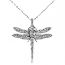 Dragon Fly Insect Pendant Necklace 14k White Gold (0.59ct)