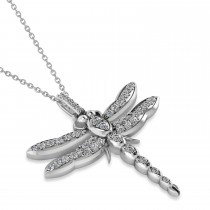 Dragonfly Insect Diamond Pendant Necklace 14k White Gold (0.59ct)