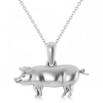 Mighty Pig Charm Pendant Necklace 14k White Gold