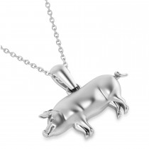Mighty Pig Charm Pendant Necklace 14k White Gold|escape
