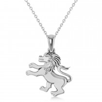 Roaring Lion Charm Pendant Necklace 14k White Gold