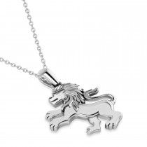 Roaring Lion Charm Pendant Necklace 14k White Gold|escape
