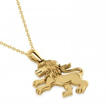 Roaring Lion Charm Pendant Necklace 14k Yellow Gold