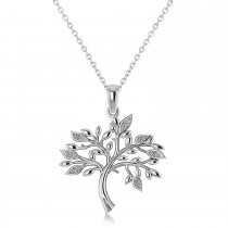 Diamond  Family Tree  of Life Charm Pendant Necklace 14k White Gold (.11 ct)