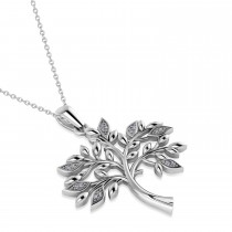 Diamond  Family Tree  of Life Charm Pendant Necklace 14k White Gold (.11 ct)|escape