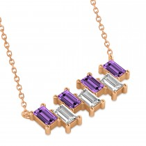 Bar Amethyst & Diamond Baguette Necklace 14k Rose Gold (2.50 ctw)