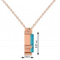 Bar Blue Diamond & Diamond Baguette Necklace 14k Rose Gold (2.10 ctw)