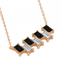 Bar Black Diamond & Diamond Baguette Necklace 14k Rose Gold (2.10 ctw)